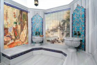 Osmanlı motifleri ile süslenmiş hamamlar yaratmak artık zor değil. Osmanlı desenli kişiye özel hamam fayans modelleri ile hayalinizdeki bütün desenleri fayanslara aktarabilirsiniz.