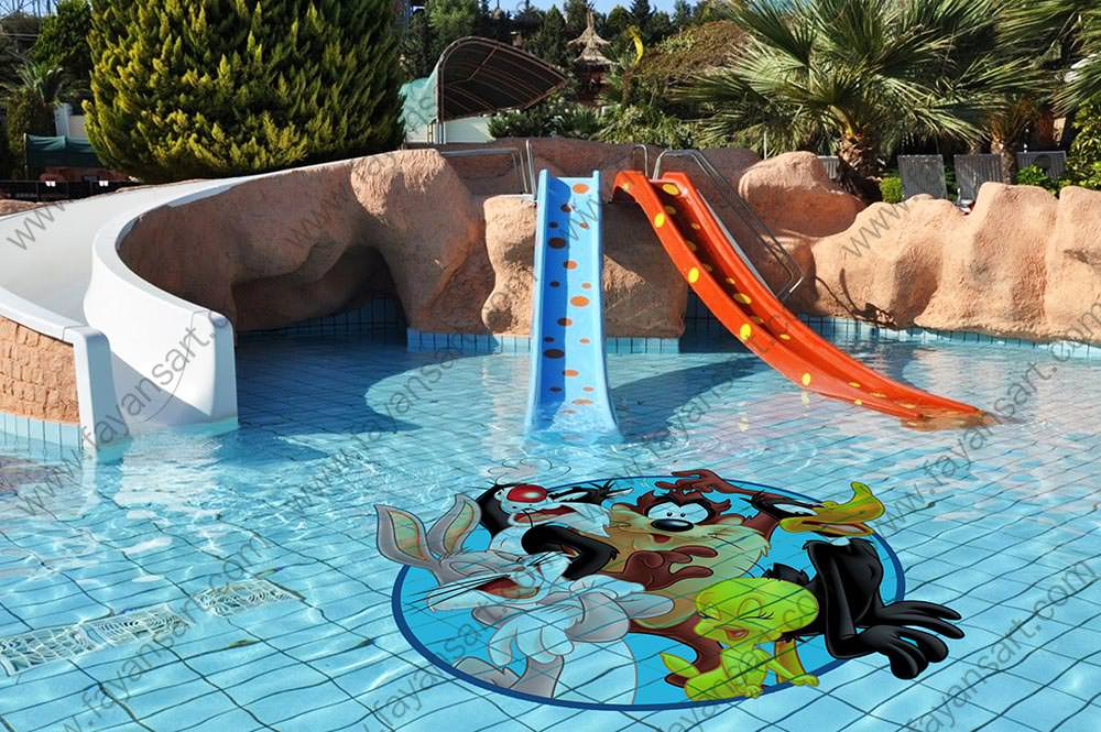 You can move cartoon characters to swimming pools to make a difference in the children's pool and to entertain children with custom printed pool tiles. Creating more vibrant and differences now much easier in your pools with cartoon characters.