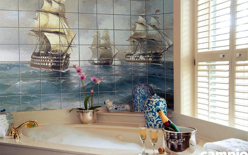 Vintage baskılı fayans modelleri ile banyolarınızı dilediğiniz mekanlara dönüştürebilirsiniz.